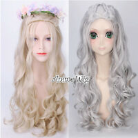 For Game of Thrones Daenerys Targaryen Long Silver Blonde Curly Cosplay Wig Cap