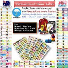 kids Personalised Name Label preschool back2 school water proof sticker cartoon