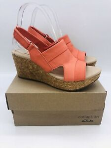 Clarks Women Annadel Ivory Adjustable Wedge Sandals Coral Leather , choose size
