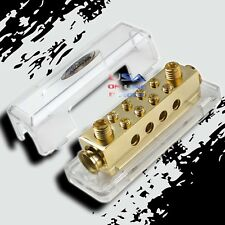 GOLD Ground Distribution Block Two 0/2 Gauge Wire AWG 12v Inputs 8ga output
