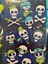 Jumping Beans Beach Bath Towel Blue Velour Skull Crossbones