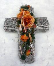 FRI-Collection Grabschmuck Grabgesteck Kreuz künstlich mit ocker Rose 42 cm