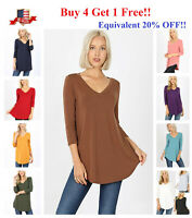 Womens 3/4 Sleeve T-Shirt V-Neck Casual Basic Tunic Top Long Loose Blouse S-3X