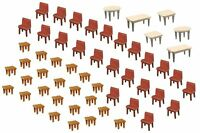 Faller 180438 HO 1/87 7 Tables et 48 Chaises - 7 Tables and 48 Chairs