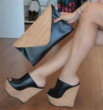 US8 Black Womens High Wedge Platform Heels Pumps Slippers Open Toe Clog Sandals