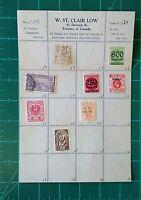Vintage W. St. Clair Low Stamp Order Sheet w/ Deutsche Reich Hong Kong England