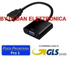 CONVERTITORE ADATTATORE DA HDMI A VGA 1080p SPINA PLACCATA SILVER HDTV PC NERO