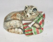 VINTAGE PORCELAIN FIGURINE OF A CAT KITTEN PLAYING WITH KNITTING MARKED MHSP UK