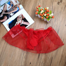 XL Sissy Sexy Men Lace Ruffle Underwear Sexy Boxer Briefs Shors Underpants Red