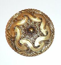 """Gold & Black Accents Gold Czech Hand Painted Lacy Glass Shank Button -  1-5/8"""""""