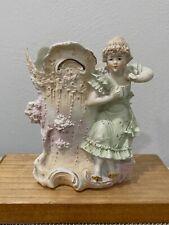 Antique German Bisque Porcelain Girl in Dress Figurine / Vase