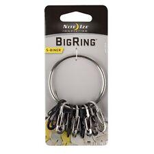 Nite Ize BigRing Steel Large Keychain w/ 8x S-Biner Carabiners Key Ring Keyring