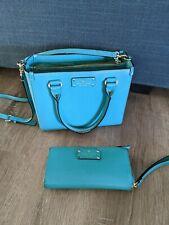 KATE SPADE Teal Green Pebbled Leather Cross Body Handbag Shoulder Bag w/Wallet