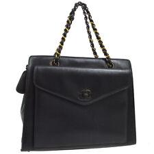 CHANEL CC Logos Chain Hand Bag Purse Black Leather Authentic 5078668 NR14374