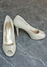 Gold Lurex Peep Toe Court Shoe. Size 3