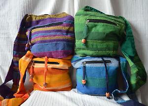 Ladies Cross Body Shoulder Bag handbag cotton messenger zip pocket hippy hand