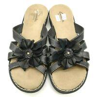 Clarks Bendables Black Leather Floral Casual Slide Sandals Shoes Women's 7 M