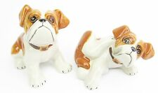 British Bulldog, Set of 2 Ceramic Figurines Tan & White