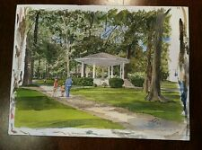 ORIGINAL Watercolor by Ernest B Walden aka Davis Gray - Bandstand Westfield NH