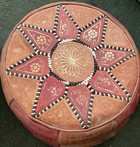 Pouf Moroccan Hassock Pooff Leather Pouff Ottoman Footstool Medium Red