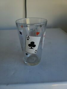 Poker Playing Cards Pint Glasses Cup Glassware Set, Jack Queen King Ace