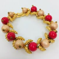 Vintage Fruit Beaded Bracelet Gold Tone Link Pink Peach