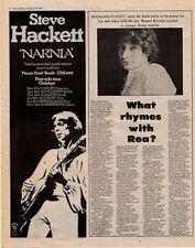 Steve Hacket UK Tour advert + Chis Rea Interview 1978