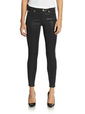 7 Seven For All Mankind Ankle Zip Sz 26 Skinny Jeans in High Gloss Black Coated