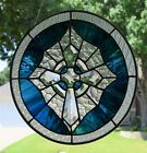 1  Celtic Cross  in Blue Stained Glass Panel