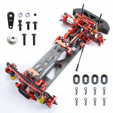 4WD 1/10 G4 RC Car Drift Racing Red Frame Kit Alloy & Carbon Fiber 078055R