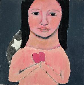 Original Acrylic Portrait Painting Pink Heart Katie Jeanne Wood