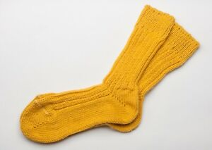 Irish Wool Socks - Bright Yellow - Size M = UK 4-7  (EUR 37-41  /  US 5.5 -8.5)