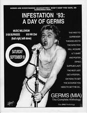 VINTAGE GERMS - DARBY CRASH - INFESTATION - 1993 Record Store Promo Handbill NM+