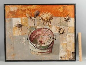 JOSE LAPAYESE DEL RIO Modernist MCM Expressionist THISTLES Still Life Painting