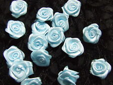 20 Pale Blue Satin Ribbon Roses 15 Mm Wedding Sewing Card Dress Embellishment