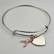 Pink Cancer Ribbon & Heart Bangle Bracelet Adult Size NEW!