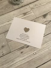10 Simple Elegant Save The Date Cards with Champagne Glitter Heart, Any Colour!