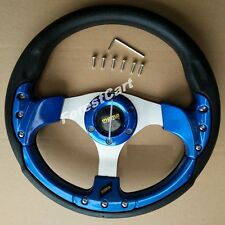 "12.5"" Blue Steering Wheel w/ Horn Switch,6 Hole,EZGO Club Car Boat UTV Lawnmower"