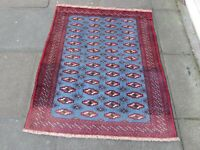 Vintage Hand Made Traditional Oriental Wool Blue Red Small Rug 130x111cm