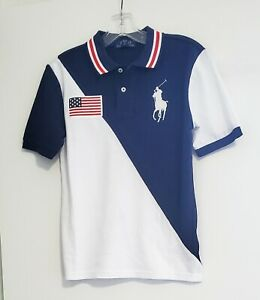 Polo Ralph Lauren Big Boys Big Pony Cotton Mesh Polo Shirt White Sz M (10-12)