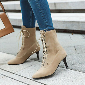 Women's Retro Stilettos Heels Ankle Boots Lace Up Boots Solid Pointed Toe Shoes