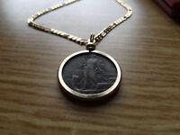 "1912  Italian Maiden Bronze 5 Centesimi Coin Pendant 24"" 18k Gold Filled Figaro"