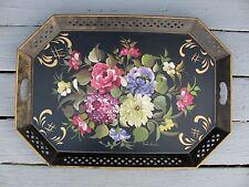 Vintage Fred Austin Artist Signed Summer Flowers Nashco Large Metal Tole Tray