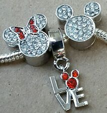 Disney Mickey Loves Minnie Crystal Mouse Head - Jewelry Beads fit Charm Bracelet