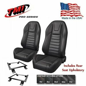 TMI Pro Series - Highback Bucket Seats, Brackets + Rear 1971-73 Mustang Convert.