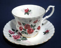 Royal Albert Bone China Long Stemmed Red Rose Tea Cup and + Saucer Set