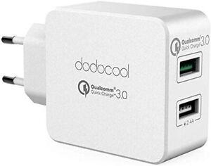 Dodocool Quick Charge 3.0 Caricatore USB da Muro a 2 Porte, 36W 5V/5.4A