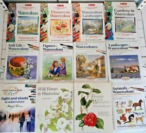 Bundle of Watercolour Painting Books Flowers Still Life Landscapes Figures KY365