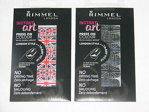 RIMMEL Instant Art Press On Colour Nail Art Stickers - Choice of Colours