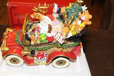 "FITZ & FLOYD SANTA MOBILE MUSICAL VINTAGE CAR ""WE WISH YOU A MERRY CHRISTMAS"""
